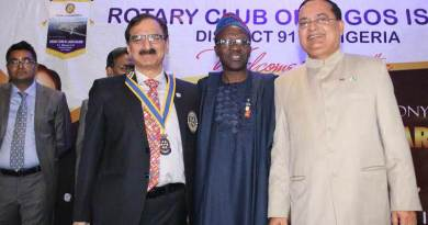 L to R: Newly installed President of Rotary Club of Lagos Island, Raj Kumar Gulati, District 9110 Governor Kola Sodipo and outgoing president, Sanjeev Tandon at the event.