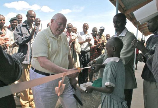 Ridgewood Rotarian Jerry Kallman at the 2015 opening of the preschool and kindergarten classrooms at Kishermoruak school in Kenya. Photo: Submitted