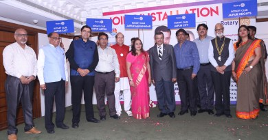 RIDE Bharat Pandya with the new presidents and secretaries of five Rotary clubs in Jaipur.