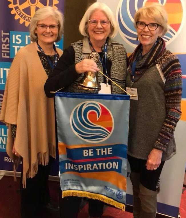 The presidents of Rochester's three Rotary clubs: Sara Gilliland of the Rotary Club of Rochester; Patricia McCleese of the Greater Rochester Rotary Club; and Joanne Rosener of the Rochester Rotary Risers.