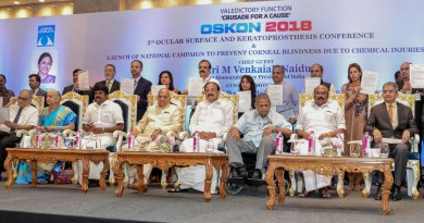 Vice President of India Venkaiah Naidu, Tamil Nadu Governor Banwarilal Purohit, State Health Minister Vijay Bhasker, ­Fisheries Minister D Jayakumar with Dr S S Badrinath, Chairman Emeritus - Sankara Nethralaya at the Conference in Chennai.