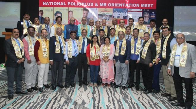 PRIP Rajendra Saboo, RI Director C Basker, TRF Trustee Gulam Vahanvaty and INPPC Chair Deepak Kapur with the present batch of DGs.
