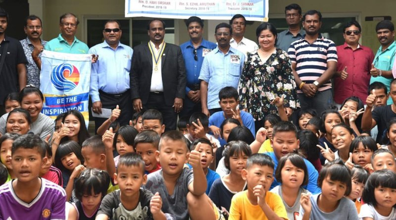 Members of RC Salem Youngtown with their President D Hari Baskar (fifth from left) at the orphanage in Pattaya.