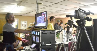A behind-the-scenes look at the 2017 Rotary Christmas Auction shows a small handful of the number of volunteers needed to broadcast the annual event.