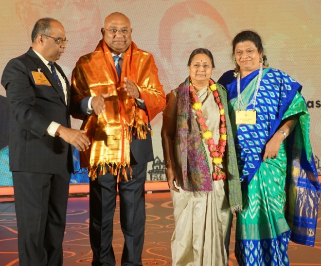 RID C Basker and Mala being felicitated by Institute Chairman ISAK Nazar and his spouse Afzalunissa.