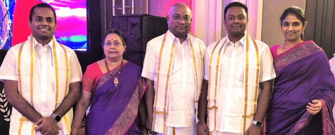 RID C Basker and Mala with their sons Gautham (left), Gokul and daughter-in-law Divya.