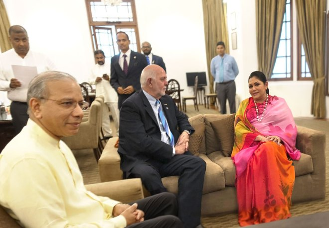 PRIP K R Ravindran, RI President Barry Rassin and Mayor of Colombo Rosy Senanayake.