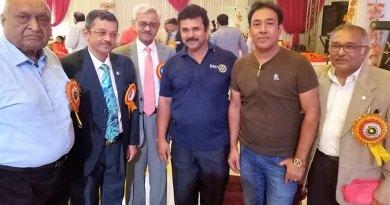 From L: RIDE Bharat Pandya, INPPC Chair Deepak Kapur, RC Moradabad Central President Anujj Agarwal, Club Secretary Shammi Puri and PDG Akhilesh Kothiwal.