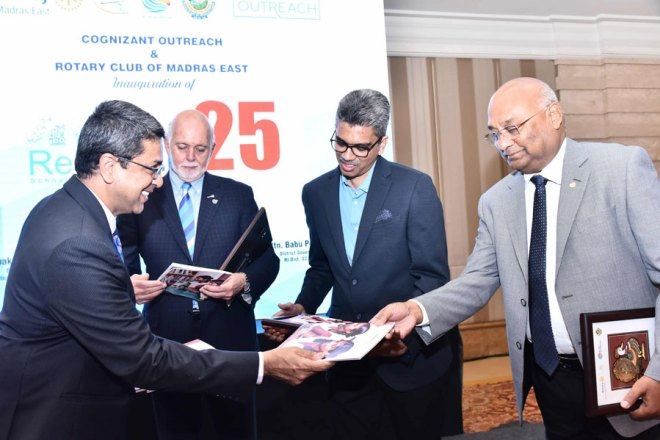 RCME President R M Narayanan, President Rassin, CSR Outreach Global Head Prabhu Matti and RID C Basker at the launch of the coffee table book.