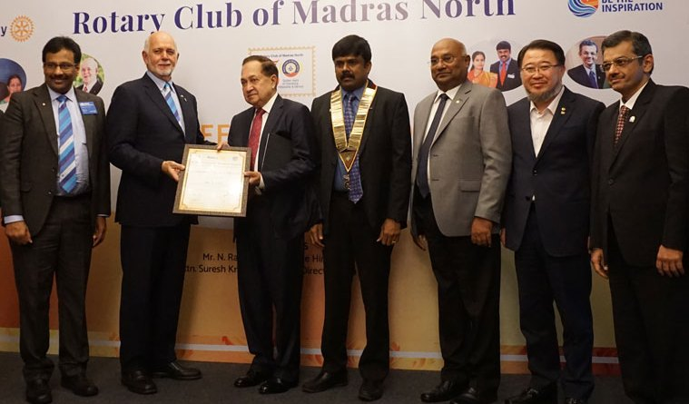 RI President Barry Rassin conferring Eminent Citizen Award on  N Ram, Chairman, The Hindu group of publications, in the presence of (from L) PDG G Olivannan, RC Madras North President N Venkatesh, RID C Basker, RID Eun-Soo Moon and RIDE Bharat Pandya.
