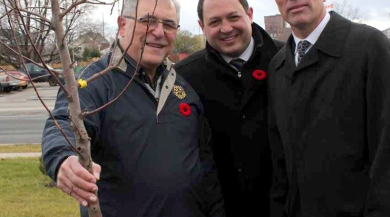 Robert Carricato, President of Rotary Club of Sault Ste Marie, Mayor Christian Provenzano and Rodger Rosset particpate in a tree-planting ceremony on Carmen's Way earlier this month. Photo: Carolyn Bunting O'Connor.