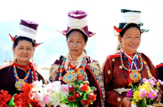 Ladakhi women in traditional costume.