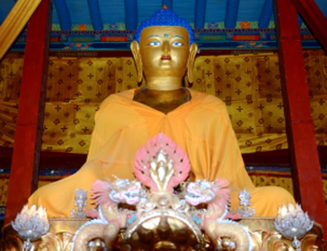 Statue of the Buddha at the Hemis Monastery.