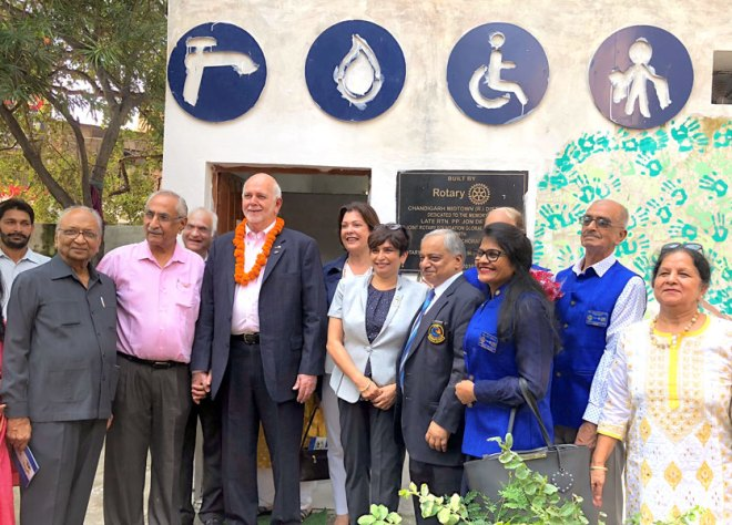 President Rassin and Esther with DG Goyal and Rotarians at the Government School in Manimajra.