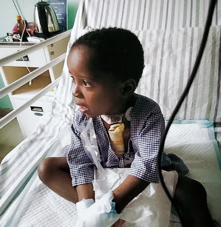 Little Miracle in the hospital ward after a successful surgery.