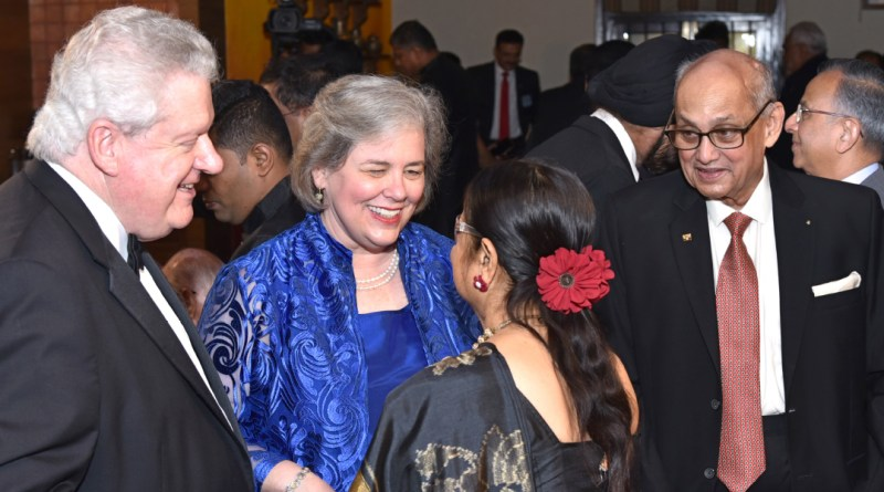 Gay interacting with Binota as RIPE Mark Maloney and PRIP Kalyan Banerjee look on. PRIP Rajendra Saboo is also in the picture.