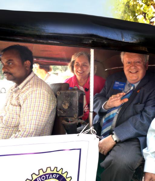 The Maloneys enjoy an autorickshaw ride in Surat.
