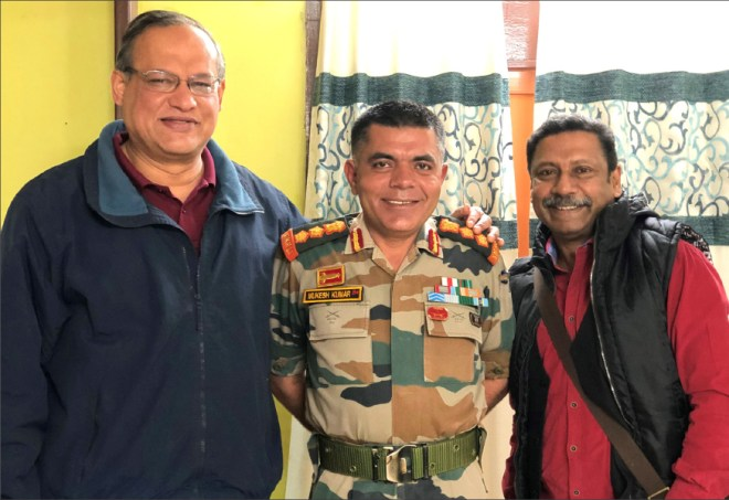 From L: Col Christopher Rego, Col Mukesh Verma and D Ravishankar.