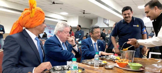 RIPE Maloney pondering on his spice tolerance in Indian food. RIDE Pandya and DGE Bhamre are also seen.