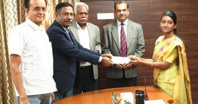 D Ravishankar, President, RC Bangalore Orchards, RID 3190, gave a cheque for Rs 10 lakh to Innocent Divya, District Collector, Udagamandalam (Ooty) for the education of the children of the local tribals — the Todas — of the Nilgiris.