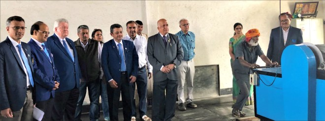 RIPE Mark Maloney with RIDE Bharat Pandya, DG Rajiv Sharma, DGN Shabbir Shakir and PDG Kishor Kedia at the gas crematorium.