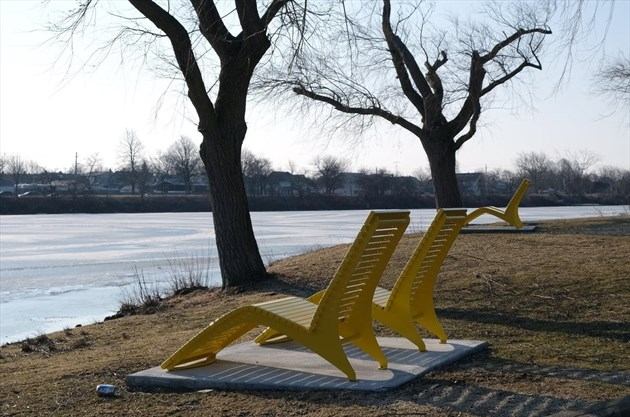 A pair of chairs were added to Lincoln Street Docks last year as part of a multi-phase project to redevelop the area. Photo: Dave Johnson, The Welland Tribune