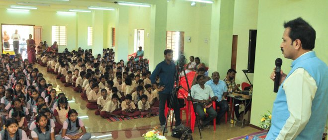 DG Babu Peram addressing students in one of the schools.