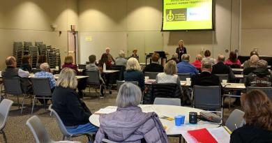 Members of Lincoln's Downtown Rotary were joined by other Rotary clubs from Omaha, Norfolk, Wayne and Columbus at a training seminar that helped prepare them to offer workshops to identify sex trafficking in hotels and motels in the area. Photo: Randy Bretz