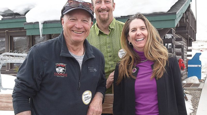 (From Left) Peter Van De Carr, Robbie Shine and Adonna Allen were honoured by the Rotary Club of Steamboat Springs with Paul Harris Fellow awards. Photo: John F Russell