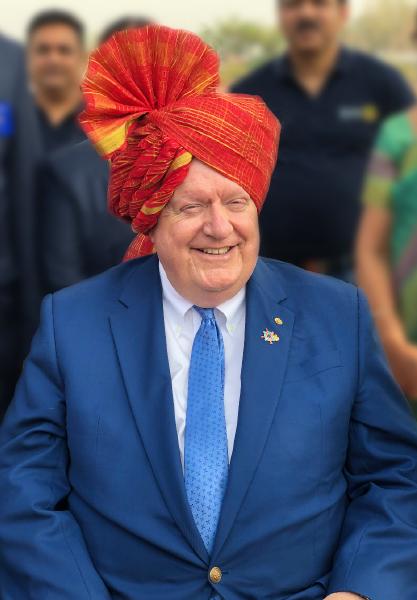RIPE Maloney sporting a feta during his visit to Amravati in Maharashtra.