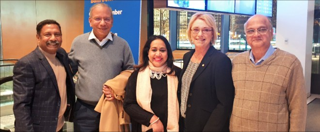 Ravishankar and Paola with PRIP K R Ravindran and TRF Trustee Gulam Vahanvaty.
