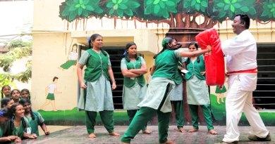 RC Chennai East RA Puram President P Vasu teaching karate  to students of a government school in Chennai.