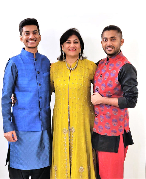 Sonal Sanghvi with their two sons; Khwab (right) and Raavishu.