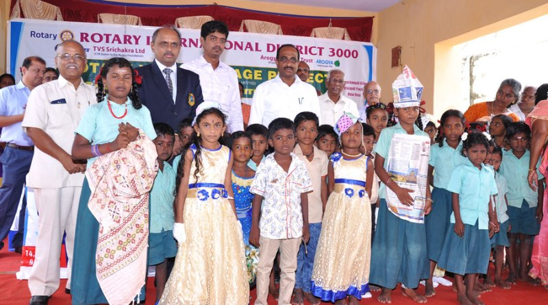 DG R V N Kannan along with the District Collector R Natarajan  at a children's programme on avoiding plastics in one of the adopted villages.