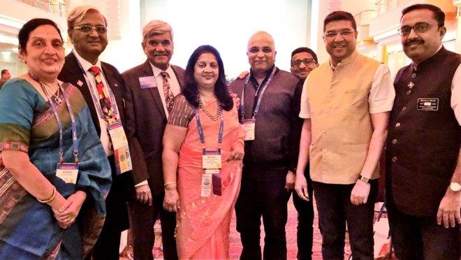 From L: Shobha Kudale, PDGs Arun Kudale, Vinay Kulkarni, DGN Rashmi Kulkarni, Rtns Mahesh Bhagwat, Charu Shrotri, PDG Abhay Gadgil and Rtn Pankaj Shah from RID 3131.