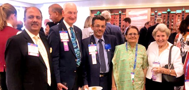 From L: PRID Shekhar Mehta, PRIP Bill Boyd, RIDE Bharat Pandya, Madhavi and Lorna Boyd.