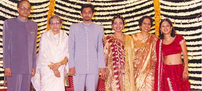 Son's wedding. From L: Gulam Vahanvaty, mother Fatema, Zameer, Khatija, Haseena and daughter Zahabia.