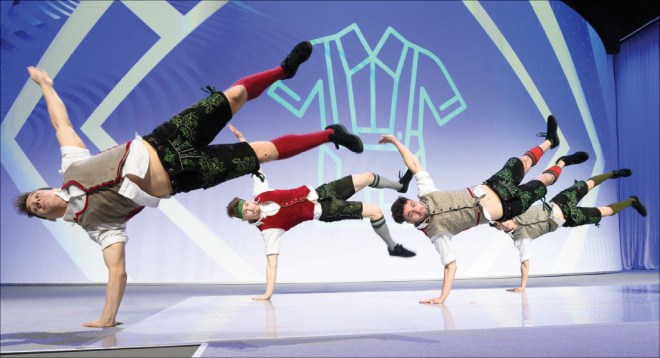 A breakdance performance during the opening ceremony.