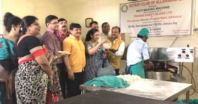 RC Allahabad Elite's past president Ritesh Singh (extreme right) and President Poonam Ray at the inauguration of roti maker at the Leprosy Mission Hospital.