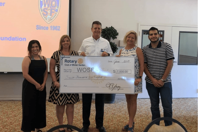 Members of local nonprofits receiving cheques from the Rotary Club of Winter Garden.