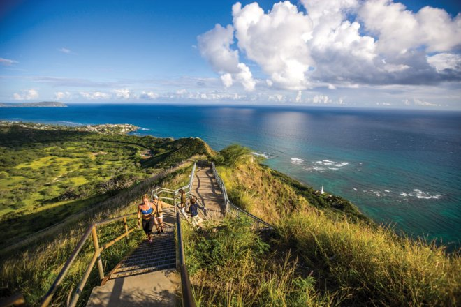 The nearly one-mile trail to the summit of Diamond Head is strenuous and steep, but the stunning panoramic views from the platform at the top of the crater are worth the effort.