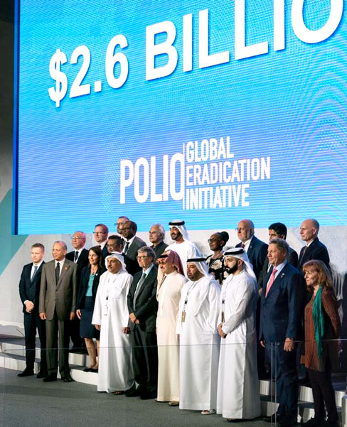 Gates Foundation Chairman Bill Gates and TRF Trustee Chair Elect K R Ravindran are seen in this picture of global leaders at The Last Mile event in Abu Dhabi.