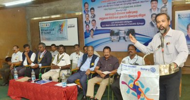 RC Guindy President R Sivaraman speaking at a camp site in the presence of RID 2981 DG N Manimaran (R) and RID 3232 DG G Chandramohan (second from R).