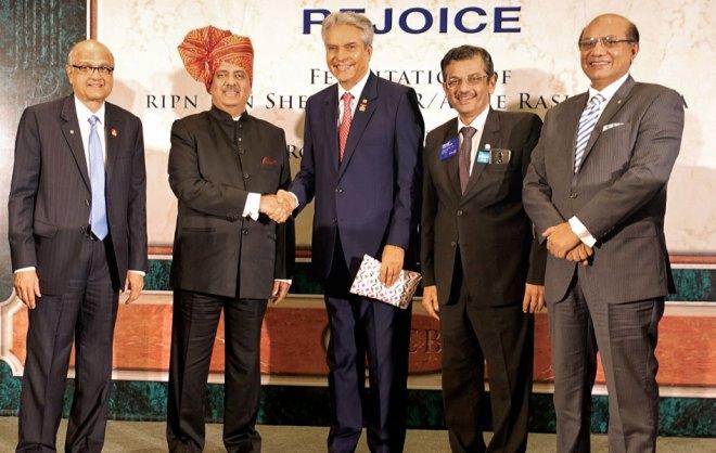 From L: TRF Trustee Gulam Vahanvaty, RIPN Shekhar Mehta, PDG and TRF Trustee Nominee Aziz Memon, RIDs Bharat Pandya and Kamal Sanghvi.