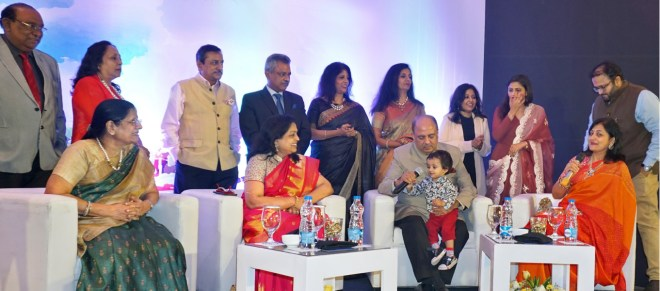 RIPN Shekhar Mehta and Rashi with his mother Vallabh Kumari, Sonal Sanghvi, son Chirag, daughter-in-law Geetha, daughter Chandni, sisters Madhulika and Rashmi and brothers-in-law. Mehta has his grandson Veer on his lap.
