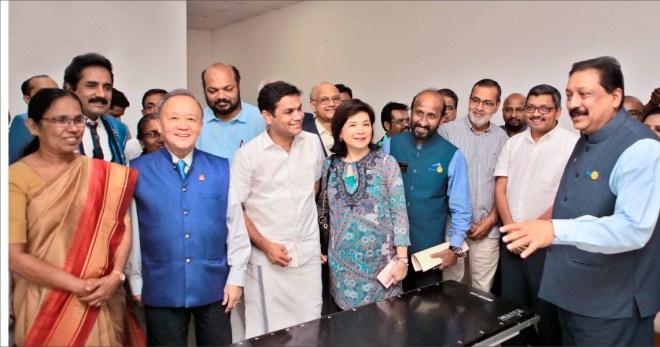 (From Left) Kerala Health Minister KK Shailaja, PDG John Daniel, Trustee Chair Gary Huang, former MP P Rajeev, Hibi Eden, current MP, Trustee Gulam Vahanvaty, Corinna, DG Madhav Chandran, AKS members Kochouseph Chittilappilly and Nawas Meeran and DRFC R Jayasankar.