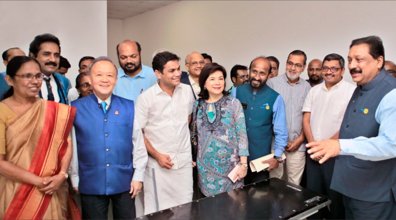 (From Left) Kerala Health Minister K K Shailaja, PDG John Daniel, Trustee Chair Gary Huang, former MP P Rajeev, Hibi Eden, current MP, Trustee Gulam Vahanvaty, Corinna, DG Madhav Chandran, AKS members Kochouseph Chittilappilly and Nawas Meeran and DRFC R Jayasankar.