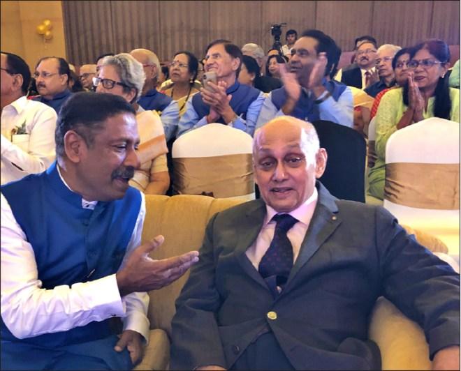 RC Bangalore Orchards past president D Ravishankar in conversation  with PRIP Banerjee.