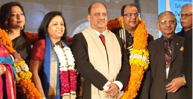 RIPN Mehta and Rashi being felicitated by DG (RID 3012) Deepak Gupta and his wife Reena in Delhi.