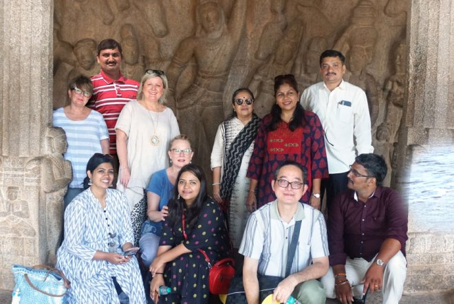 From L (seated): Kiran Zehra, Donna Cotter, Jyoti Rai, Henry Shao and K Senthilkumar. Standing: Sharon Hurley,V Muthukumaran, Gay Kiddle, Rasheeda Bhagat, Jaishree and K Vishwanathan at Mahabalipuram.